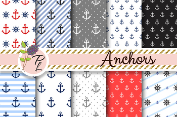 Nautical Anchors Seamless Pattern Set. Digital paper pack.