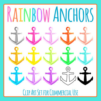 Nautical Anchors in Rainbow Colors Clip Art Set for Commercial Use