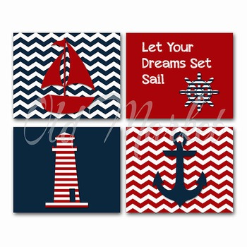 Nautical Art - Horizontal Art in Navy and Red - Printable Wall Art