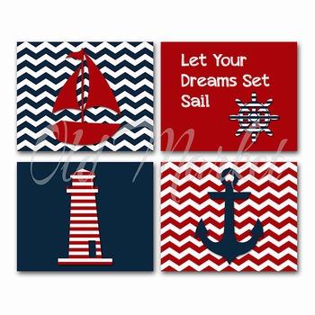 Nautical Art - Horizontal Art in Navy and Red - Printable Wall Art