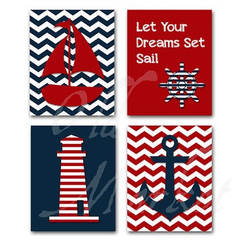Nautical Art - Let your Dreams Set Sail - Printable Wall Art - Includes 4 Images
