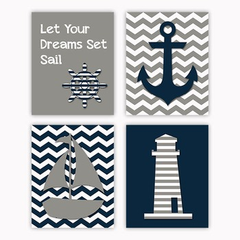 Nautical Art in Gray and Navy Blue - Printable Wall Art - Includes 4 Images