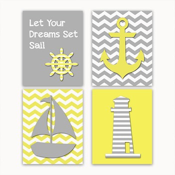 Nautical Art in Gray and Yellow - Printable Wall Art - Includes 4 Images