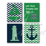 Nautical Art in Green and Navy Blue - Printable Wall Art - Includes 4 Images