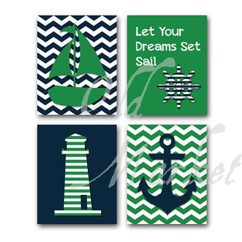 Nautical Art in Green and Navy Blue - Printable Wall Art -