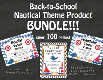 Nautical BUNDLE! Scholar Targets, Friendship Targets, & Volunteer Forms!