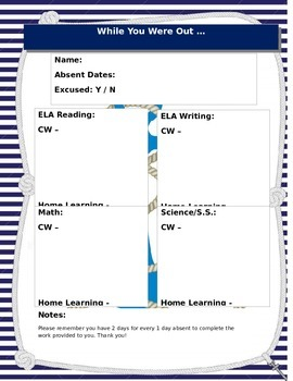 Nautical Back to School Forms Bundle