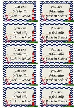 Nautical Back to School Treat Bag Tags