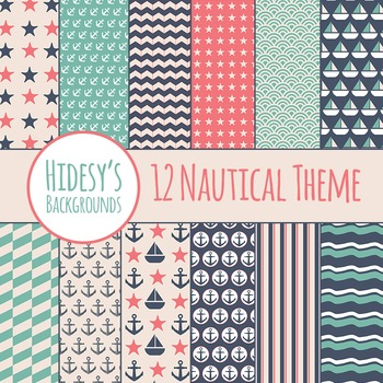 Nautical Backgrounds : Digital Papers / Patterns for Commercial Use