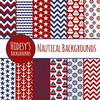 Nautical Backgrounds / Patterns / Digital Papers (2) for Commercial Use