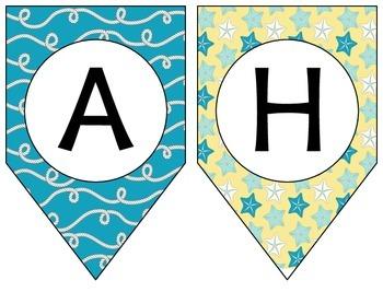 Nautical Banner - Aqua & Yellow **Three Phrases**  FREEBIE