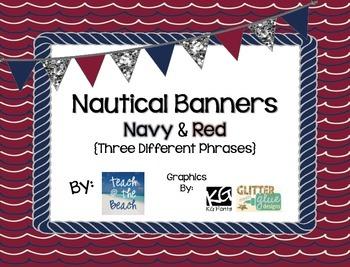 Nautical Banner - Navy & Red  **Three Phrases**  FREEBIE