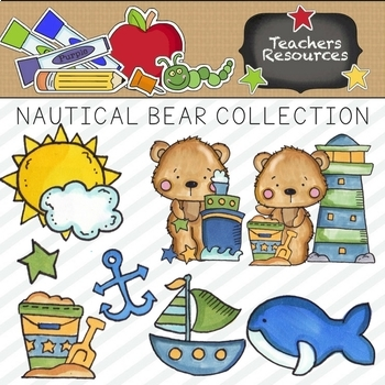 Nautical Bear Clipart Collection || Commercial Use