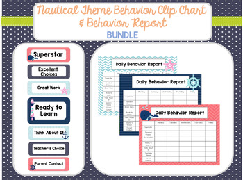 Nautical Behavior Clip Chart and Behavior Log BUNDLE