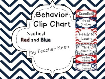 Nautical Behavior Clip Chart in Red and Blue