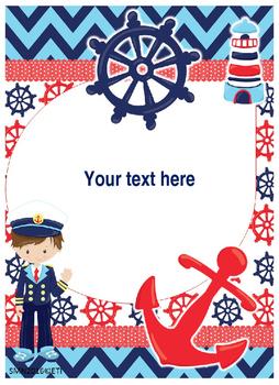 Nautical Binder Covers Editable!