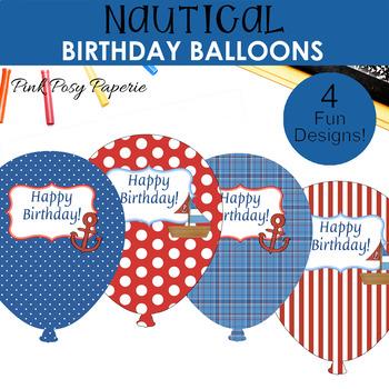 Nautical Birthday Balloons (4 different designs)