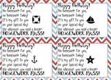 Nautical Birthday Homework Pass
