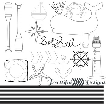 Nautical Blackline Clip Art Commercial Use