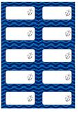 Nautical Blue Chevron Labels