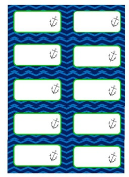 Nautical Blue and Lime green Labels