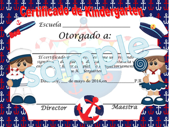 Nautical Blue background Achievement award English / Spanish version