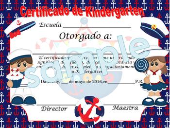 Nautical Blue background Achievement award English / Spanish version