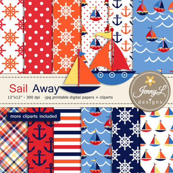 Nautical Boat Digital Papers and Cliparts