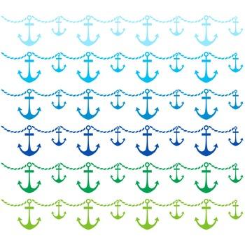 Nautical Border Clipart - 22 digital anchor borders / 8x1 inches - A00047