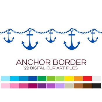 Nautical Border Clipart - 22 digital anchor borders / 8x1 inches - A00047
