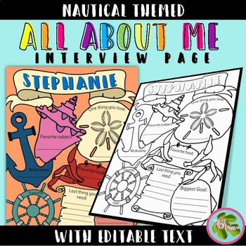 Nautical Bundle: All About Me Interview, Writing Prompts, Word Search