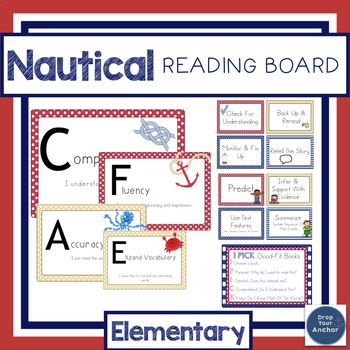 CAFE board Posters and Cards- Elementary Strategies (Nautical theme)
