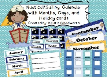 Nautical Calendar Kit with Chevron Months, Days, and Birthday/Holiday Cards