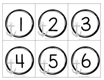Nautical Calendar Numbers with Anchors