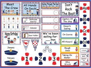 Nautical Calendar Set and Classroom Decorations