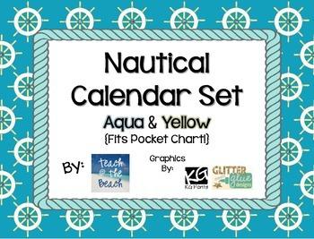 Nautical Calendar Set - Aqua and Yellow  **Fits Pocket Chart**