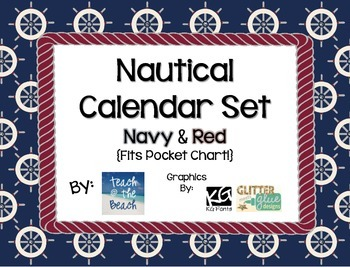 Nautical Calendar Set - Navy & Red  **Fits in Pocket Chart**