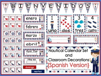 Nautical Calendar Set and Classroom Decorations {Spanish Version}