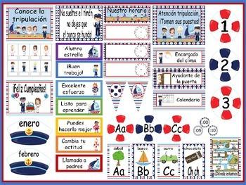 Nautical Calendar Set and Classroom Decorations {Spanish Version}
