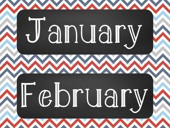 Nautical Chalkboard Classroom Calendar Set 10 Patterns Stripe Dot Anchor