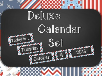 Nautical Chalkboard Classroom Calendar Set 10 Patterns Str