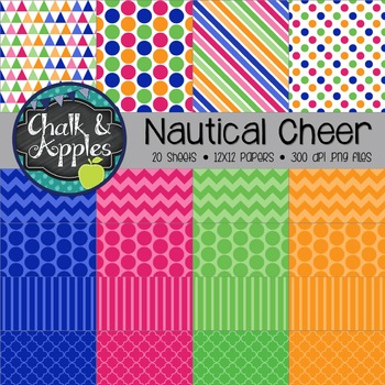 Nautical Cheer Digital Papers - Personal & Commercial Use