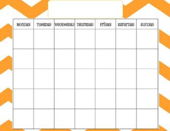 Nautical Chevron Calendar Template