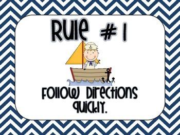 Nautical Chevron Classroom Rules (Whole Brain)