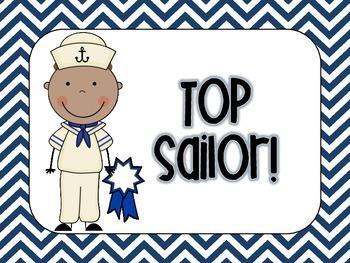 Nautical Chevron Classroom Rules Whole Brain & Clip Up/Clip Down Chart SET!