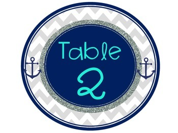 Nautical Chevron Decor Table Numbers Turquoise Navy Gray