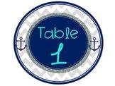 Nautical Chevron Decor Table Numbers Turquoise Navy Gray