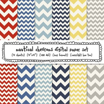 Nautical Chevron Digital Paper, Red, Yellow, Navy Blue, Gray, for TpT Sellers