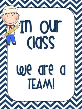 """Nautical Chevron """"In Our Class"""" Posters"""