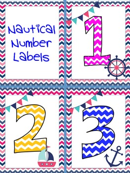 Nautical Chevron Number Cards